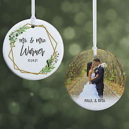 Geo Prism Wedding 2.85-Inch Porcelain Christmas Ornament in White