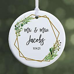 Geo Prism Wedding 2.85-Inch Porcelain Christmas Ornament
