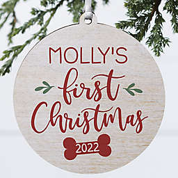 3.75-Inch Dog's First Christmas Wooden Holiday Ornament in White