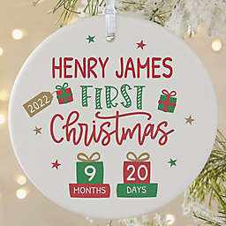 3.75-Inch Baby's First Christmas Age Personalized Ornament