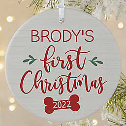 3.75-Inch Dog's 1st Christmas Personalized Matte Ornament