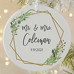 Geo Prism Wedding Matte Personalized Christmas Ornament