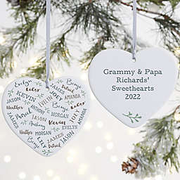 Farmhouse Heart Personalized 2-Sided Ornament in White Matte