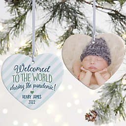 """4-Inch """"Born During A Pandemic"""" Personalized Porcelain Heart Christmas Ornament in White"""