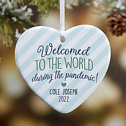 """3.25-Inch """"Born During A Pandemic"""" Personalized Heart Christmas Ornament in White"""