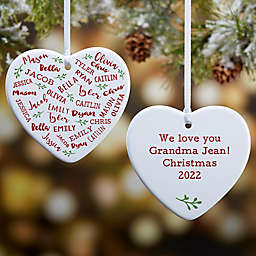 Farmhouse Heart 3.25-Inch 2-Sided Porcelain Christmas Ornament in White
