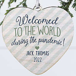 """4-Inch """"Born During A Pandemic"""" Personalized Wooden Heart Ornament in White"""