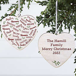 4-Inch Personalized Farmhouse Double-Sided Porcelain Heart Ornament