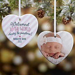"""3.25-Inch """"Born During A Pandemic"""" Personalized Porcelain Heart Christmas Ornament"""