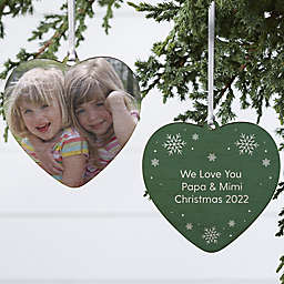 4-Inch Double-Sided Personalized Photo Wooden Heart Christmas Ornament