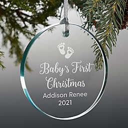 """Engraved """"Baby's First Christmas"""" Personalized Premium Glass Ornament"""