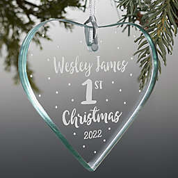 Baby's First Christmas 3.5-Inch Heart Premium Glass Christmas Ornament