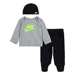 Nike® 3-Piece Take Home Footed Pant, Top and Beanie Set in Grey/Violet
