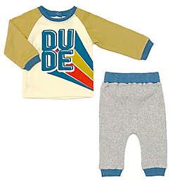 "Kapital K™ 2-Piece ""Dude"" Tee Shirt and Jogger Set in Mustard/Multi"