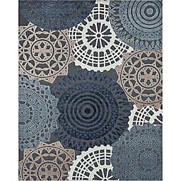 Tayse Rugs Ezra Geometric 5'3 x 7'3 Indoor/Outdoor Area Rug in Black