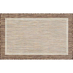 Tayse Rugs Dania 2' x 3' Solid Border Accent Rug in Brown
