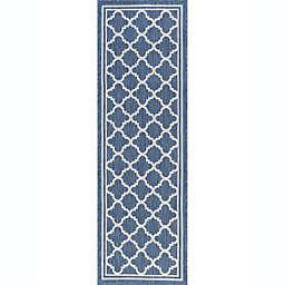 Tayse Rugs Shaila Geometric 2'3 x 7'3 Indoor/Outdoor Runner in Blue