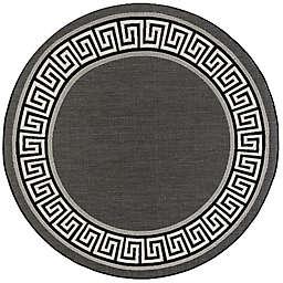 Tayse Rugs Eco Giovanna Greek Key 5'3 Round Indoor/Outdoor Area Rug in Black