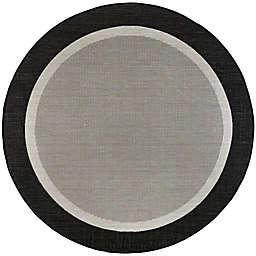 Tayse Rugs Dania 7'10 Round Solid Border Indoor/Outdoor Area Rug in Black
