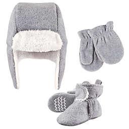 Hudson Baby® Size 6-12M 3-Piece Hat, Mitten & Bootie Set in Heather Grey