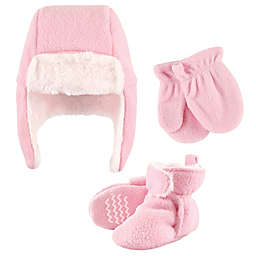 Hudson Baby® Size 6-12M 5-Piece Hat Mitten & Bootie Set in Light Pink