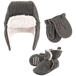 Hudson Baby® Size 6-12M 3-Piece Hat, Mitten & Bootie Set in Charcoal