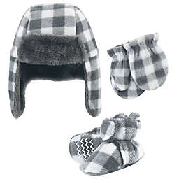Hudson Baby® Size 6-12M Plaid Hat, Mitten and Bootie 4-Piece Set in Charcoal