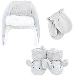 Hudson Baby® Size 6-12M 3-Piece Hat, Mitten & Elephant Bootie Set in Grey