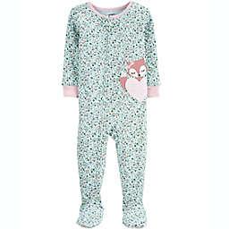 carter's® Size 18M 1-Piece Fox 100% Snug Fit Cotton Footie PJs in Teal