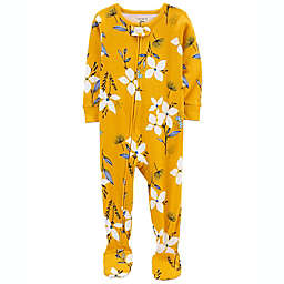 carter's® Size 18M 1-Piece Floral 100% Snug Fit Cotton Footie PJs in Mustard