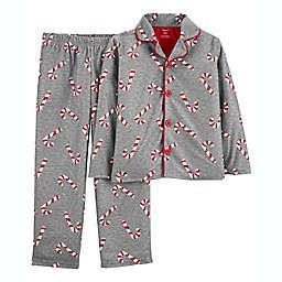 carter's® 2-Piece Candy Cane Coat-Style Fleece Pajama Set in Grey