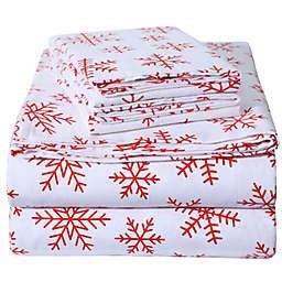 EnvioHome Snowflakes Flannel Sheet Set