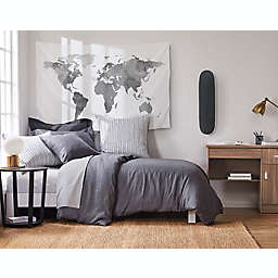 Levtex Home Washed Linen Twin Duvet Cover in Coal