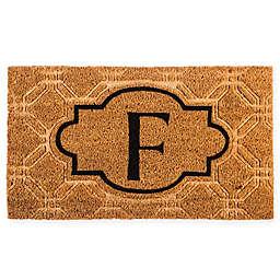 """Evergreen Embossed Flocked Monogram Letter """"F"""" Door Mat Insert in Black"""