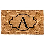 "Evergreen Embossed Flocked Monogram Letter ""A"" Door Mat Insert in Black"