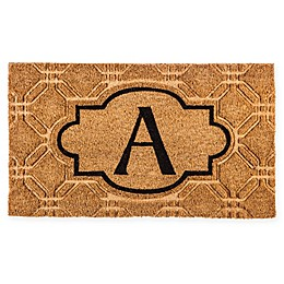 Evergreen Embossed Flocked Monogram Door Mat Insert in Black