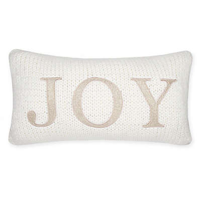 """Joy"" Oblong Knit Throw Pillow in Ivory"