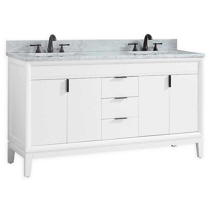 Alternate image 1 for Avanity™ Emma 61-Inch Double Vanity with Sinks and Mirror in White/White