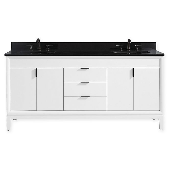 Alternate image 1 for Avanity™ Emma 73-Inch Double Vanity with Sinks and Mirror in White/Black