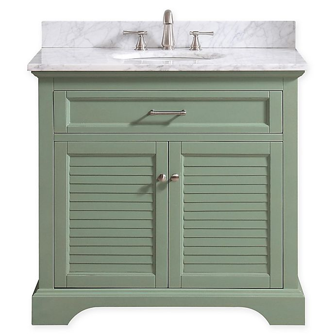 Alternate image 1 for Avanity™ Colton 37-Inch Single Vanity with Sink and Mirror in Basil/White