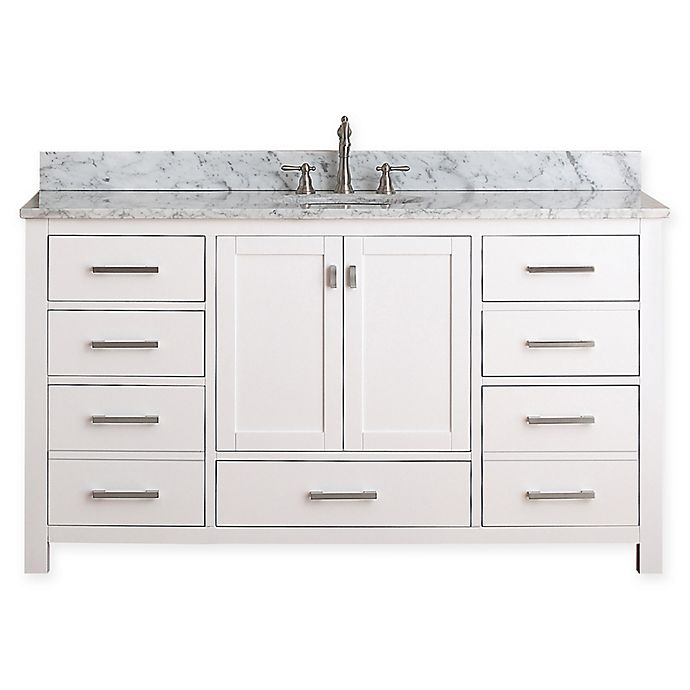 Alternate image 1 for Avanity Modero 61-Inch Double Vanity Combo with White Marble Top and Mirror in White