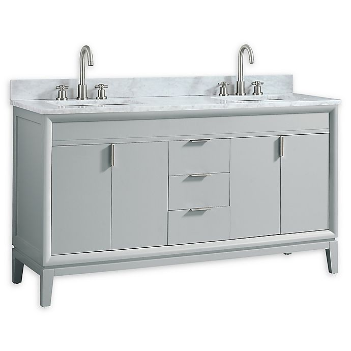 Alternate image 1 for Avanity™ Emma 61-Inch Double Vanity with Sinks and Mirror in Dove Grey/White
