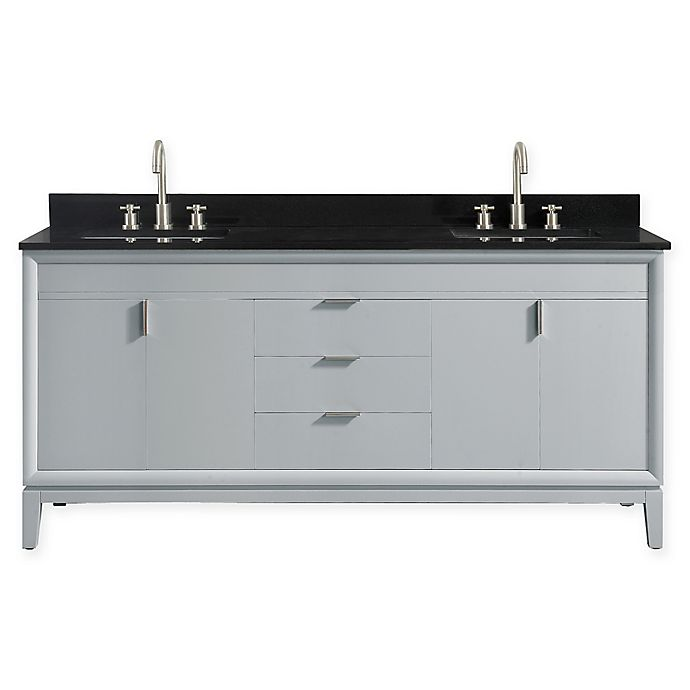 Alternate image 1 for Avanity™ Emma 73-Inch Double Vanity with Sinks and Mirror in Dove Grey/Black