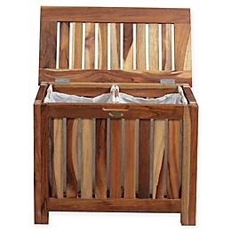 EcoDecors™ Annabella 2-Compartment Slatted Teak Bench Hamper with Laundry Bags