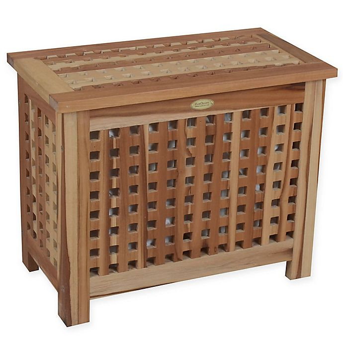Alternate image 1 for EcoDecors™ Annabella 2-Compartment Lattice Teak Bench Hamper with Laundry Bags