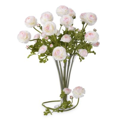 Nearly Natural 23 Inch Silk White Ranunculus Stems (Set Of 12) by Bed Bath And Beyond