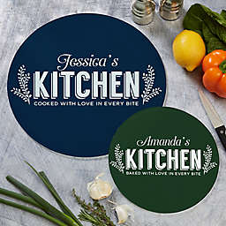 Her Kitchen Round Glass Cutting Board