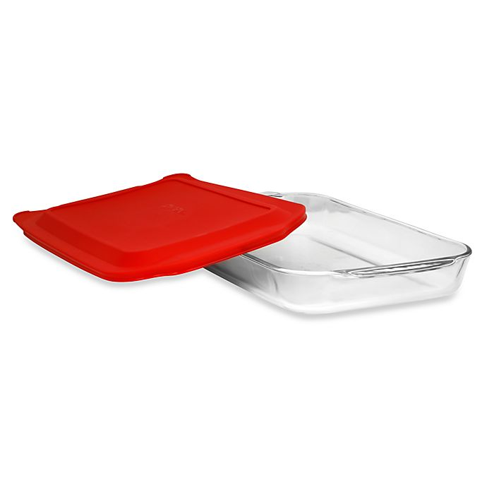 Alternate image 1 for Pyrex® 4-Quart Oblong Glass Baking Dish with Red Plastic Cover