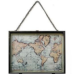 Flat Map 18-Inch x 14-Inch Framed Metal Wall Art