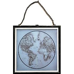 Circle Map 18-Inch x 14-Inch Framed Metal Wall Art